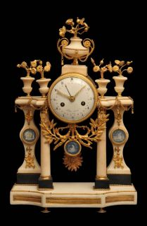 FRENCH GOLD PLATED BRONZE & MARBLE LOUIS XVI MANTEL CLOCK   VERSAILLES