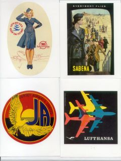 20 Retro Airline Baggage Luggage Labels Stickers