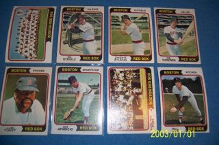 1974 Topps Boston Red Sox Team Set of 30 Cards Yaz Fisk