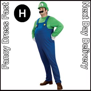 Adult Kids Super Mario Luigi Bros Fancy Dress Game Costume Mens Boys