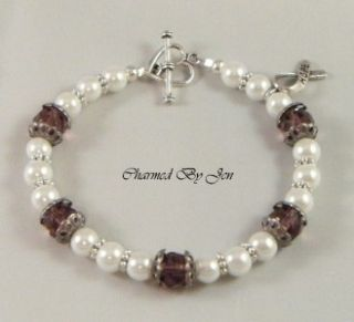 LUPUS Awareness Czech Glass & Pearl Bracelet w/ Ribbon Charm