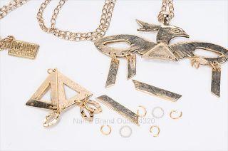 Low Luv Erin Wasson 6 PC Gold Tone Skeleton Thunderbird Necklace