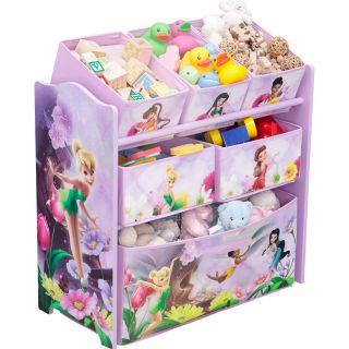Disney Fairies 6 Bins Toy Organizer Kid Childrends Toy Box Bin Storage