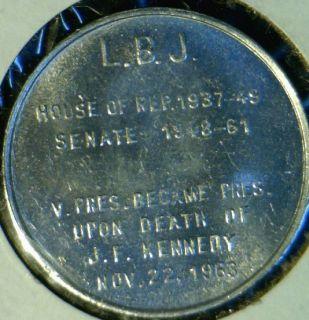 Lyndon B Johnson Version 1 Quarter Size Commemorative Medal Token Coin