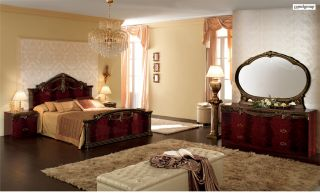 Luxor Mahogany Gold 5 PC Traditional opean Queen Bedroom Set