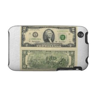 Two Dollar Bill Federal Reserve Note Back & Front iPhone 3 Cases