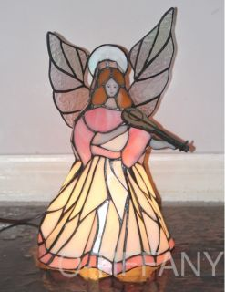 Tiffany Style Stained Glass Lamp Angel with Lute