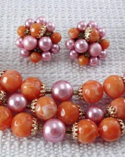 Vintage Multi Strand Bead Necklace Earring Set Orange Pink Faux Pearl