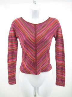 Missoni Red Pink Striped Long Sleeve Crop Top Sz S