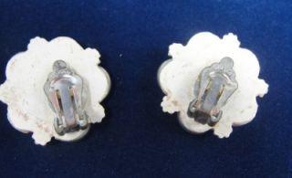 Vtg White Lucite Resin Lace Flower Earrings Japan