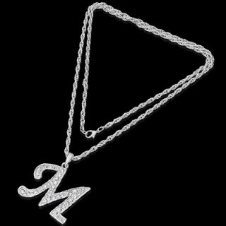 Initial M Letter Character Silver Charm Necklace Chain