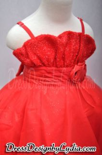 572Z Blossom Red Wedding Flower Girl Easter Pageant Party Dress 9 12M