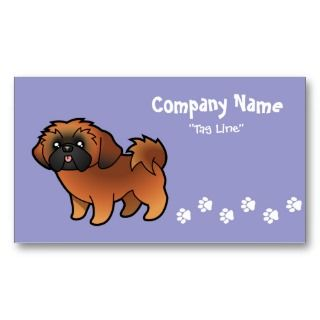 Cartoon Shih Tzu (red puppy cut) business cards by SugarVsSpice