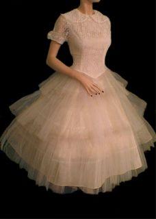 Ivory Lace TuTu Full Skirt Party Prom Wedding Dress M Peter Pan Collar