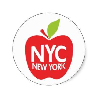 Green Big Apple NYC Round Stickers