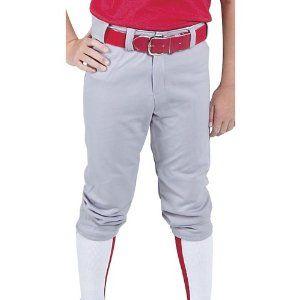 Gray Premium Baseball Pants Rawlings Youth M Medium Belted Short Leg