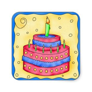 Happy Birthday Red Cake Sticker 1st