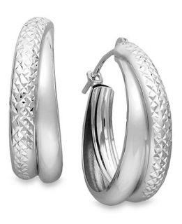 10k White Gold Earrings, Small Double Hoop Earrings   Earrings