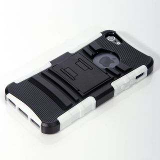For iPhone 5 Brushed Full Black Aluminum Holster & Stand Case 5G w/ SP