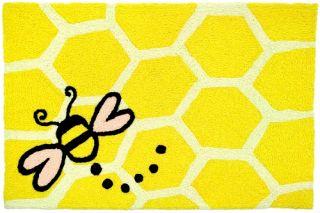Let It Bee Honeycomb Honey Bee Jellybean Accent Area Rug