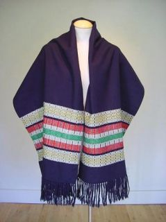 Vintage 50s Madawaska French Canada Handwoven Wool Scarf Wrap Shawl