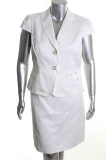 Tahari New Lydia White 2pc Cap Sleeve Two Button Jacket Pencil Skirt