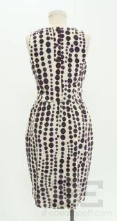 Lyn Devon Textured Cream Eggplant Purple Print Jacket Dress Suit Size