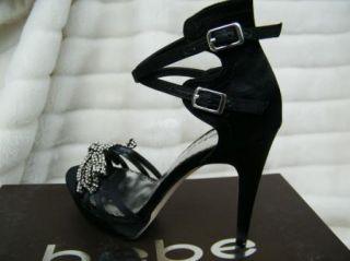 BEBE Shoes Sandals Platform Black Silver Crystal Bow Jodi