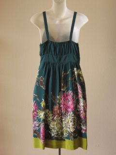 Anthropologie Maeve Teal Blue Silk Floral Mum Print Pleated Wrap