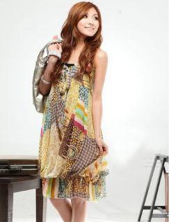 2012 New Sexy Deep Braces Skirt Neck Beach Boho Maxi Long Dress Size L