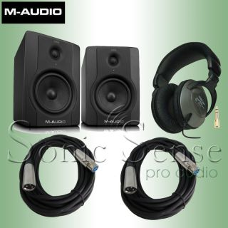 Audio BX5 D2 BX5D2 Recording Studio Monitors with headphones, cables
