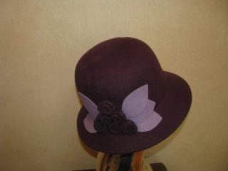 Magidladies Womans Plum Purple Wool Felt Cloche Bucket Hat w Flower