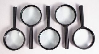 Lot of 5 New Magnifying Glasses 5X Magnifier Lens Tools