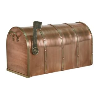 Riveted Post Mount Antique Copper Mailbox Standard