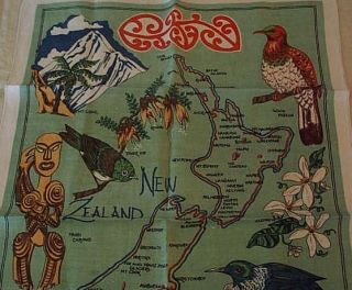 New Zealand Souvenir Linen Towel Map of Attractions Birds Fauna