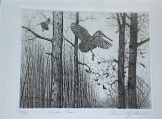David Hagerbaumer Large Original Signed Art Etching Woodcock