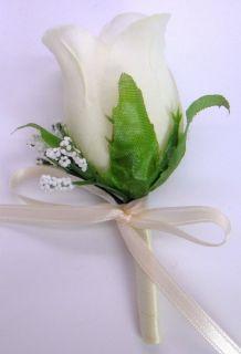 Wedding Bridal Bouquet Cream Ivory Roses Silk Artificial Flowers 21 PC