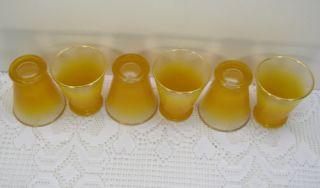 Set 6 Orange Blendo Juice 4 oz Shot Glasses Gold Rim Bar Ware West
