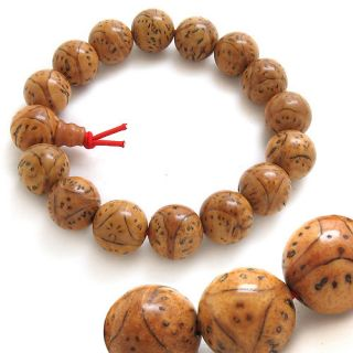 Meditate 15 Old Dragon Eye Bodhi Seed Prayer Beads Wrist Mala Bracelet