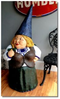 Girl Big Garden Gnome Statue Goods for Yard or Home