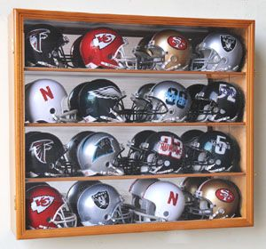 NFL MLB Mini Helmet Display Case Cabinet Wall Rack Box