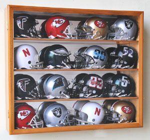 NFL MLB Mini Helmet Display Case Cabinet Wall Rack Box