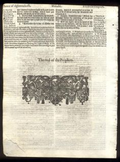 Black Letter Bible Leaves Complete Book of Malachi Woodcut