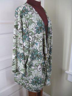 Maggie Barnes Green White Brown Botanical Jersey Shirt 4X
