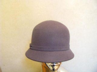 Ladies Womans Magid Gray Cloche Bucket Wool Felt Hat w Braided Band