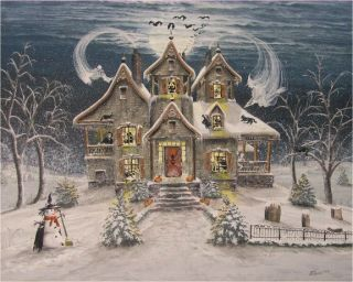 Folk Art Halloween Haunted Snow House Ghosts Cats Skeleton Witch Byrum