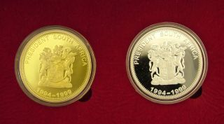 Mandela Proof Medallions Gold Plated Solid Silver 925