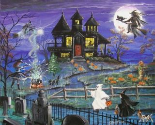 Byrum Fantasy Halloween Print Witches Haunted House Children Magick