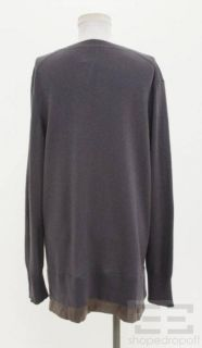 Bruno Manetti Steel Gray Cashmere V Neck Sweater