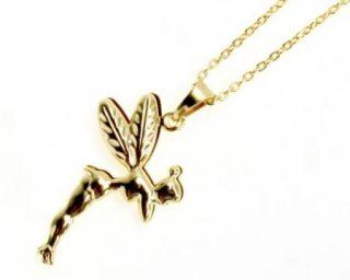 Pendant Charm & Chain Gold 18k GF Magic Fairy Wings Tinkerbell 3D Girl